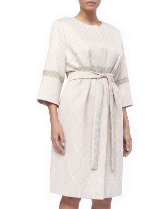3/4-Sleeve Deco Torta Coat & Detachable-Sleeve Dress, Women's