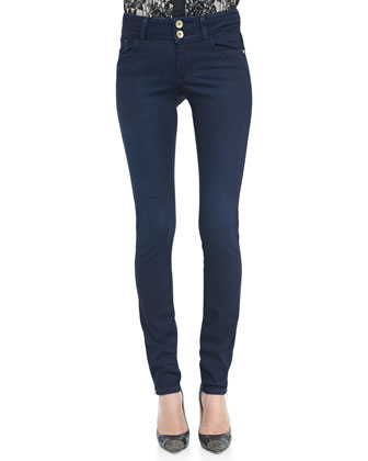 Two-Button Dark Skinny Jeans