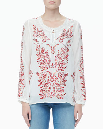 Preston Embroidered Voile Top