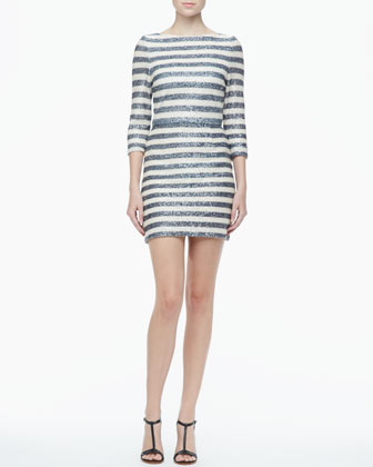 Pammy Striped Sequined Dress