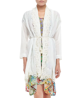 Voile Cliff Tassel Jacket & Lilly Asymmetric Print Dress
