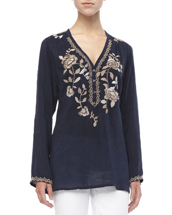 Long Petal-Embroidered Blouse, Women's