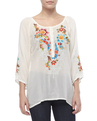 Sheer Embroidered Long Blouse & Sunrose Silk Printed Scarf