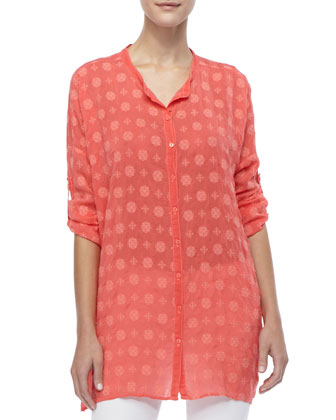 Printed Rayon Relaxed-Fit Tunic, Women's