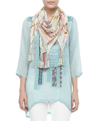 Patchwork Trim Long Top, Women's & Sunrose Silk Printed Scarf