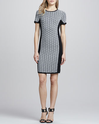 Jacquard-Knit Panel Dress