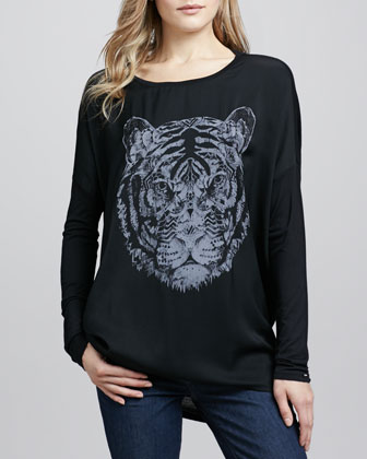 Long-Sleeve Tiger-Print Top