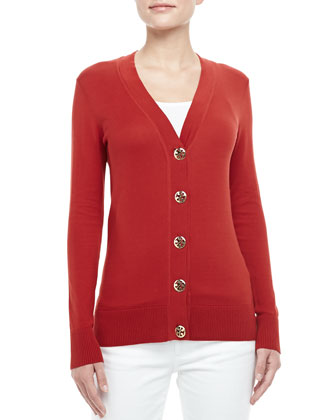 Simone Logo-Button Cardigan, Acai Red