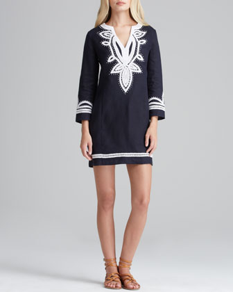 Odelia Contrast-Trim Linen Dress