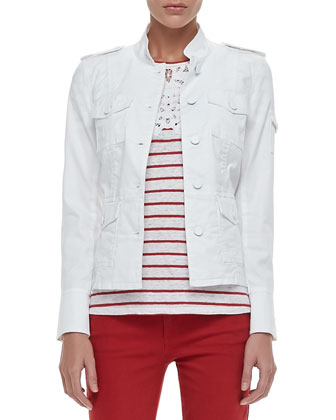 Shrunken Sergeant Twill Jacket, Amanda Lace-Bib Striped Tee & Alexa Cropped ...