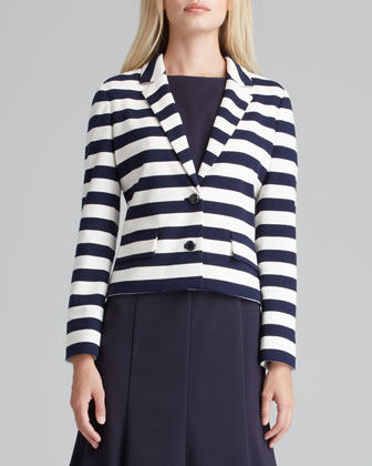 Augusta Striped Knit Blazer & Shania Flare-Skirt Dress