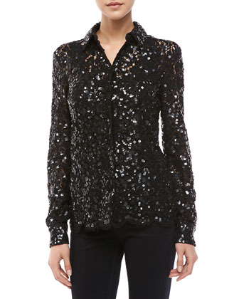 Floral-Lace Sequined Blouse