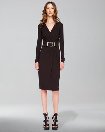 Buckled Wrap Dress