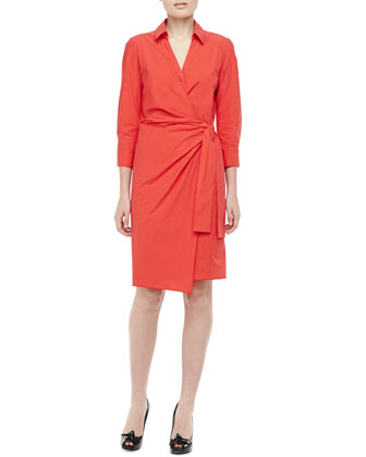 3/4-Sleeve Cotton Wrap Dress, Poppy