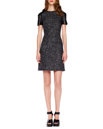 Leather-Sleeve Tweed Dress, Black/Banker