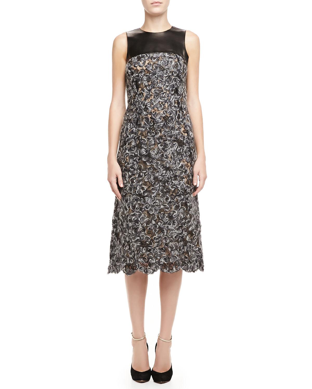 Womens Sleeveless Mohair Lace Dress   Black/Banker (2)