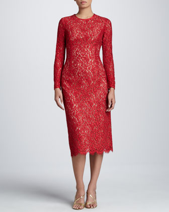 Floral Lace Crew Dress, Crimson