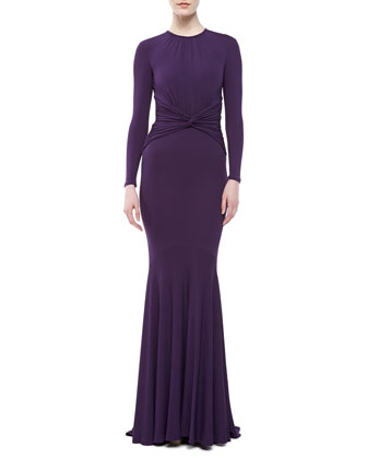 Matte Jersey Goddess Gown, Blackberry