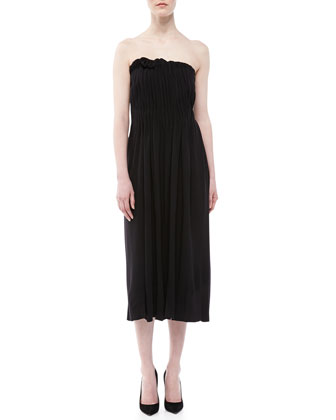 Wool Jersey Strapless Dress