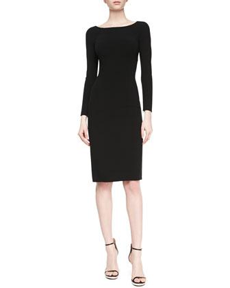 Double-Face Crepe Sheath Dress, Black