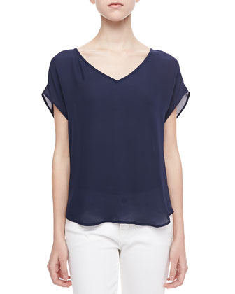 Glenna Short-Sleeve Top, Dark Navy