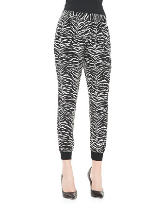 Tiger-Print Silk Track Pants