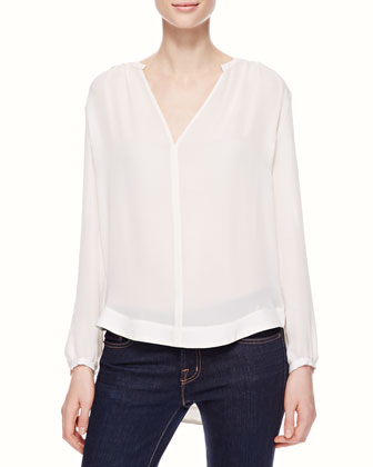 Lace-Back Silk Blouse