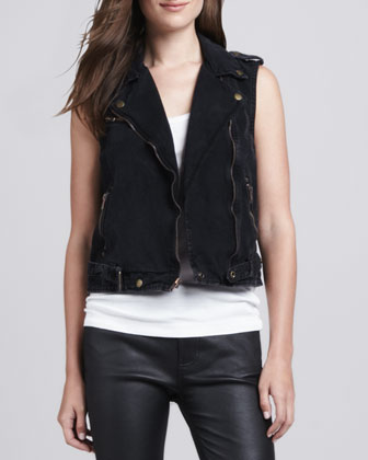 Sleeveless Denim Moto Vest