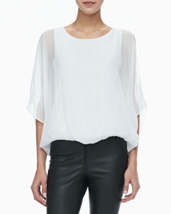 Sheer-Sleeve Batwing Top
