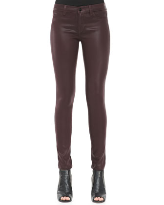 485 Mid-Rise Lacquered Pinot Skinny Jeans