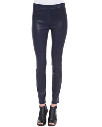 Leather Pull-On Leggings, Black Amethyst