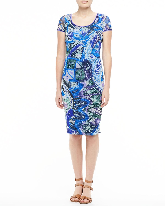 Womens Scaled Floral Print Sheath Dress, Blue/Purple   Fuzzi
