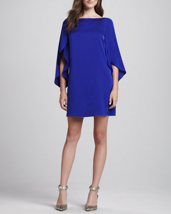 Buttefly-Sleeve Shift Dress, Cobalt