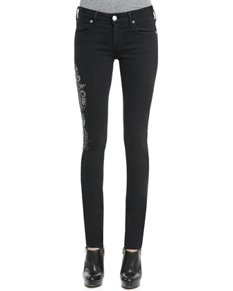 Jude Studded Slim Jeans, Black