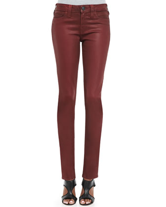 Halle Coated Slim Jeans, Crimson