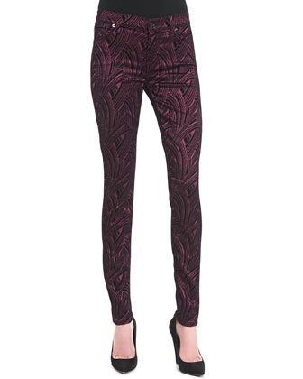 Flocked Sateen Skinny Pants