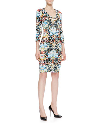 Lotus Printed Jersey Sheath Dress, Black/Multi