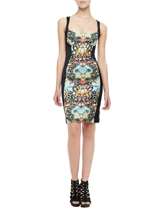 Acanthus Contour-Paneled Dress, Black/Multi