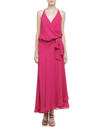 Halter Faux-Wrap Maxi Dress