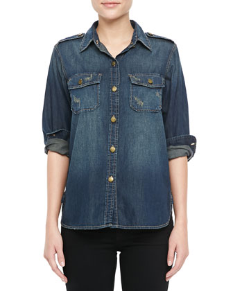 The Perfect Distressed Denim Shirt