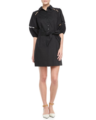 Puff-Sleeve Cutout Shirtdress