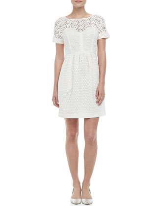 Camilla Lace-Overlay Bubble-Skirt Dress