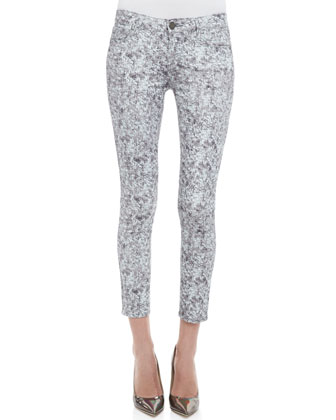Verdugo Pewter Sequin-Print Skinny Jeans