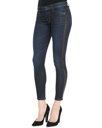 Ava Shirley Leather-Side Skinny Jeans