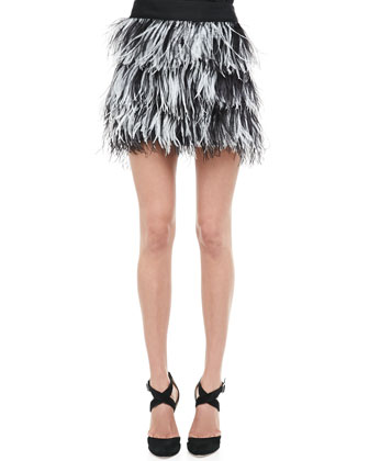 Oversize Tweed Moto Jacket, Pleated Racerback Tank & Tiered Ostrich-Feather ...