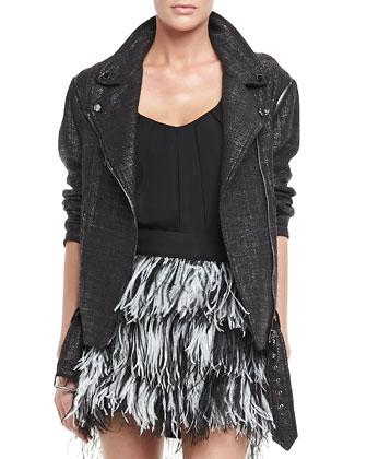 Oversize Tweed Moto Jacket