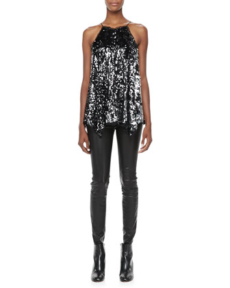 Sequined Uneven-Hem Tank
