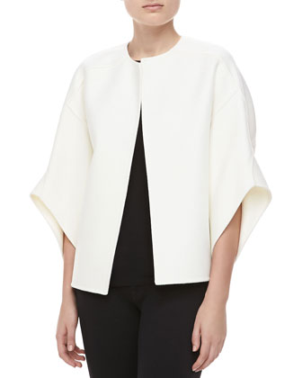 Melton Wool Bolero Jacket, Ivory