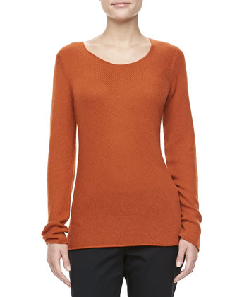 Bias-Knit Cashmere Sweater, Paprika