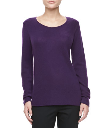 Bias-Knit Cashmere Sweater, Blackberry